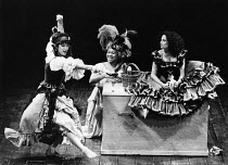 THE ROVER   by Aphra Behn   adapted & directed by John Barton   design: Louise Belson   lighting: Wayne Dowdeswell   l-r: Geraldine Fitzgerald (Florinda), Jenni George (Callis), Hilary Townley (Valer...