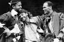 THE ROVER   by Aphra Behn   adapted & directed by John Barton   design: Louise Belson   lighting: Wayne Dowdeswell   l-r: Hugh Quarshie (Belvile), Jeremy Irons (Willmore, The Rover), Peter Guinness (...