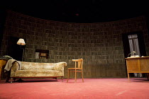 ACCOLADE   by Emlyn Williams   design: James Cotterill   lighting: Peter Mumford   director: Blanche McIntyre   stage,set,empty,settee,books,library,desk,radio,1950s St. James Theatre, London SW1   17...