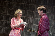 ACCOLADE   by Emlyn Williams   design: James Cotterill   lighting: Peter Mumford   director: Blanche McIntyre   Trenting shows his wife the announcement of his knighthood: Abigail Cruttenden (Rona Tre...
