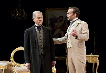 AN IDEAL HUSBAND   by Oscar Wilde   design: Simon Higlett   lighting: Howard Harrison   director: Rachel Kavanaugh ~~l-r: Edward Fox (The Earl of Caversham),  Jamie Glover (Lord Goring)~Chichester Fes...
