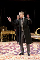 AN IDEAL HUSBAND   by Oscar Wilde   design: Simon Higlett   lighting: Howard Harrison   director: Rachel Kavanaugh ~~l-r: Robert Bathurst (Sir Robert Chiltern), Edward Fox (The Earl of Caversham)~Chic...