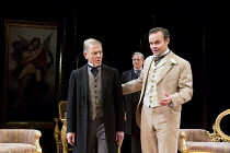 AN IDEAL HUSBAND   by Oscar Wilde   design: Simon Higlett   lighting: Howard Harrison   director: Rachel Kavanaugh ~~l-r: Edward Fox (The Earl of Caversham), Robert Bathurst (Sir Robert Chiltern), Jam...