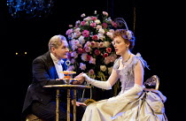 AN IDEAL HUSBAND   by Oscar Wilde   design: Simon Higlett   lighting: Howard Harrison   director: Rachel Kavanaugh ~~Robert Bathurst (Sir Robert Chiltern), Laura Rogers (Lady Chiltern)~Chichester Fest...