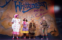 DICK WHITTINGTON AND HIS CAT   written by Tom Wells   set design: Oliver Townsend   costumes: Katie Lias   lighting: Tim Deiling   choreography: Lainie Baird   director: Dan Herd l-r: Stewart Wright (...