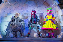 DICK WHITTINGTON AND HIS CAT   written by Tom Wells   set design: Oliver Townsend   costumes: Katie Lias   lighting: Tim Deiling   choreography: Lainie Baird   director: Dan Herd l-r: Delroy Atkinson...