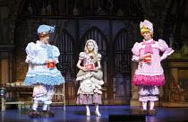 CINDERELLA   written by Eric Potts   choreographer: Lizzi Gee   director: Ian Talbot l-r: Matthew Kelly (Ugly Sister), Amy Lennox (Cinderella), Matthew Rixon (Ugly Sister)New Wimbledon Theatre, London...
