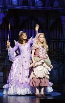 CINDERELLA   written by Eric Potts   choreographer: Lizzi Gee   director: Ian Talbot l-r: Linda Gray (Fairy Godmother), Amy Lennox (Cinderella)New Wimbledon Theatre, London SW19  f09/12/2014 Donald Co...