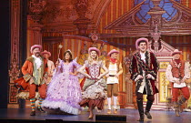 CINDERELLA   written by Eric Potts   choreographer: Lizzi Gee   director: Ian Talbot front, l-r: James Doherty (Baron Hardup), Linda Gray (Fairy Godmother), Amy Lennox (Cinderella), Liam Doyle (Prince...