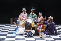 THE MAD HATTER'S TEA PARTY   created & directed by Kate Prince   music: Josh Cohen & DJ Wade   design: Ben Stones   choreography: ZooNation Dance Company   rear, l-r: Rowen Hawkins (Tweedle Dum), Turb...