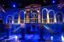 THE MERCHANT OF VENICE   by Shakespeare   design: Tom Scutt   lighting: Rick Fisher   director: Rupert Goold   stage,set,empty,TV,studio,Las Vegas,US,USA,Venice,Rialto,lights,signs Royal Shakespeare C...