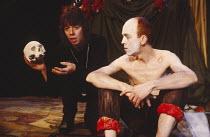 HAMLET   by Shakespeare   set design: Mick Bearwish   costumes: Iona McLeish   lighting: Jim Woodley   director: Robert Walker   Frances de la Tour (Hamlet), Andy de la Tour (Rosencrantz)  Half Moo...