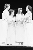 A MIDSUMMER NIGHT'S DREAM   by Shakespeare   design: Sally Jacobs   director: Peter Brook   l-r: Terence Taplin (Lysander), Mary Rutherford (Hermia), Frances de la Tour (Helena), Ben Kingsley (Demet...