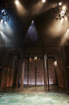 THE SHOEMAKER'S HOLIDAY   by Thomas Dekker   design: Max Jones   lighting: Tina MacHugh   director: Phillip Breen   stage,set,empty,arches,bricks,brickwork,lights,smoke,haze Royal Shakespeare Company...