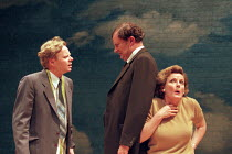 HABEAS CORPUS   by Alan Bennett   design: Robert Howell   director: Sam Mendes ~~l-r: Jason Watkins (Mr Shanks), Jim Broadbent (Arthur Wicksteed), Brenda Blethyn (Muriel Wicksteed) ~Donmar Warehouse /...