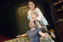 DONKEY HEART   by Moses Raine   design: James Turner   lighting: Peter Mumford   director: Nina Raine   Alex Large (Thomas), Emily Bruni (Natalia) Old Red Lion Theatre 2014 production   transfer to Tr...