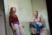 OTHELLO   by Shakespeare   design: Laura Hopkins   lighting: Natasha Chivers   director: Scott Graham l-r: Leila Crerar (Emilia), Kirsty Oswald (Desdemona)a Frantic Assembly & Theatre Royal Plymouth...