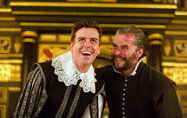 THE CHANGELING   by Thomas Middleton & William Rowley   design: Jonathan Fensom   director: Dominic Dromgoole l-r: Tom Stuart (Alonzo), Trystan Gravelle (De Flores) Sam Wanamaker Playhouse / Shakespea...