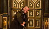 THE CHANGELING   by Thomas Middleton & William Rowley   design: Jonathan Fensom   director: Dominic Dromgoole Trystan Gravelle (De Flores) tries to remove Alonzo's ring Sam Wanamaker Playhouse / Shake...