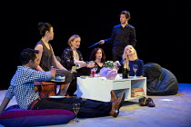THE HARD PROBLEM   by Tom Stoppard   design: Bob Crowley   lighting: Mark Henderson   director: Nicholas Hytner l-r: Parth Thakerer (Amal), Vera Chok (Bo), Lucy Robinson (Ursula), Rosie Hilal (Julia),...