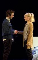 THE HARD PROBLEM   by Tom Stoppard   design: Bob Crowley   lighting: Mark Henderson   director: Nicholas Hytner Damien Molony (Spike), Olivia Vinall (Hilary) Dorfman Theatre / National Theatre (NT), L...