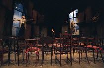 THE CHAIRS   by Eugene Ionesco   design: Quay Brothers   lighting: Paul Anderson   directed & choreographed by Simon McBurney l-r: Richard Briers (Old Man), Mick Barnfather (The Orator), Geraldine McE...