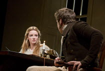 ARCADIA   by Tom Stoppard   design: Jonathan Fensom   lighting: Johanna Town   director: Blanche McIntyre ~~Dakota Blue Richards (Thomasina Cloverly), Wilf Scolding (Septimus Hodge)~English Touring Th...