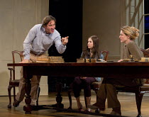 ARCADIA   by Tom Stoppard   design: Jonathan Fensom   lighting: Johanna Town   director: Blanche McIntyre ~~l-r: Robert Cavanah (Bernard Nightingale), Ria Zmitrowicz (Chloe Coverly), Flora Montgomery...