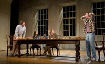 ARCADIA   by Tom Stoppard   design: Jonathan Fensom   lighting: Johanna Town   director: Blanche McIntyre ~~front, l-r: Robert Cavanah (Bernard Nightingale), Ria Zmitrowicz (Chloe Coverly), Flora Mont...
