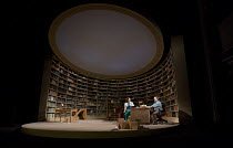 EDUCATING RITA   by Willy Russell   design: Conor Murphy   lighting: Mark Doubleday   director: Gemma Bodinetz stage,set,full,library,office,books,desk,university   with Leanne Best (Rita), Con O'Neil...