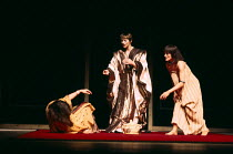ANTONY AND CLEOPATRA   by Shakespeare   design: Sally Jacobs   director: Peter Brook Iras collapses- l-r: Juliet Stevenson (Iras), Glenda Jackson (Cleopatra), Paola Dionisotti (Charmian)Royal Shakespe...