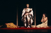ANTONY AND CLEOPATRA   by Shakespeare   design: Sally Jacobs   director: Peter Brook Cleopatra places the asp in her bosom, Iras lies dead - l-r: Juliet Stevenson (Iras), Glenda Jackson (Cleopatra), P...