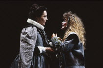 HAMLET   by Shakespeare   design: Nick Ormerod   lighting: Rick Fisher & Judith Greenwood   director: Declan Donnellan   l-r: Natasha Parry (Gertrude), Cathryn Bradshaw (Ophelia) Cheek by Jowl / Lyric...