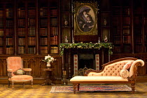 HARVEY   by Mary Chase   design: Peter McKintosh   lighting: Howard Harrison   director: Lindsay Posner   stage,set,empty,library,books,interior,American,USA,chaise longue,armchair,period,furniture,...