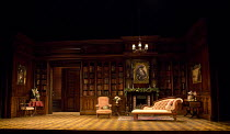 HARVEY   by Mary Chase   design: Peter McKintosh   lighting: Howard Harrison   director: Lindsay Posner   stage,set,empty,full,library,books,interior,American,USA,wood,panelling Birmingham Repertor...