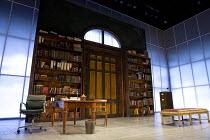 MAN AND SUPERMAN   by Bernard Shaw   design: Christopher Oram   lighting: James Farncombe   director: Simon Godwin stage,set,empty,study,interior,books,period,screensLyttelton Theatre / National Theat...