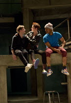 ROMEO + JULIET   by Shakespeare   composer: Benji Bower   design: Katie Sykes   lighting: Aideen Malone   movement: Dan Canham   fights: Renny Krupinski   director: Sally Cookson Act 2 sc. 4 - l-r: Jo...