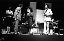 front, l-r: Rudolph Walker (Samuel), Lucita Lijertwood (Mrs Banks), Norman Beaton (Frank) in PLAY MAS by Mustapha Matura at the Royal Court Theatre, London SW1   16/07/1974  set design: Douglas Heap...