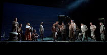 THE WILD MAN OF THE WEST INDIES   music: Donizetti   libretto: Ferretti   conductor: Jeremy Silver   design: Florence de Mare   lighting: Mark Howland   director: Iqbal Khan   front centre, l-r: Peter...