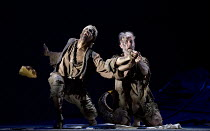 THE WILD MAN OF THE WEST INDIES   music: Donizetti   libretto: Ferretti   conductor: Jeremy Silver   design: Florence de Mare   lighting: Mark Howland   director: Iqbal Khan   l-r: Peter Brathwaite (K...