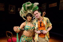 Lori Barker (Mrs Samuel), Rob Heanley (Chuck Reynolds) in PLAY MAS by Mustapha Matura at the Orange Tree Theatre, Richmond, Surrey, England  13/03/2015  design: Libby Watson  lighting: Mark Jonathan...
