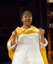 Melanie La Barrie (Miss Gookool) in PLAY MAS by Mustapha Matura at the Orange Tree Theatre, Richmond, Surrey, England  13/03/2015  design: Libby Watson   lighting: Mark Jonathan   director: Paulette...
