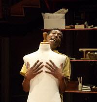 Johann Myers (Ramjohn Gookool) in PLAY MAS by Mustapha Matura at the Orange Tree Theatre, Richmond, Surrey, England  13/03/2015  design: Libby Watson   lighting: Mark Jonathan   director: Paulette Ra...