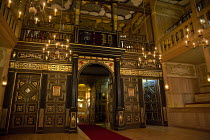 THE BROKEN HEART   by John Ford   design: Max Jones   director: Caroline Steinbeis   stage,set,full,empty,candle,candelabra,auditorium,seating Sam Wanamaker Playhouse / Shakespeare's Globe (SG), Londo...