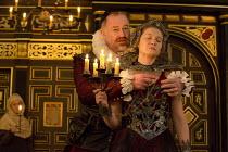 THE BROKEN HEART   by John Ford   design: Max Jones   director: Caroline Steinbeis front: Owen Teale (Bassanes), Amy Morgan (Penthea)Sam Wanamaker Playhouse / Shakespeare's Globe (SG), London SE1   18...