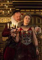 THE BROKEN HEART   by John Ford   design: Max Jones   director: Caroline Steinbeis Owen Teale (Bassanes), Amy Morgan (Penthea)Sam Wanamaker Playhouse / Shakespeare's Globe (SG), London SE1   18/03/201...