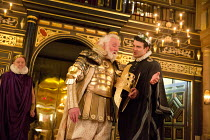 THE BROKEN HEART   by John Ford   design: Max Jones   director: Caroline Steinbeis front, l-r: Patrick Godfrey (Amyclas), Luke Thompson (Ithocles)Sam Wanamaker Playhouse / Shakespeare's Globe (SG), Lo...