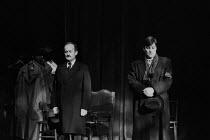 THE WOMAN IN BLACK   by Stephen Mallatratt  adapted from the novel by Susan Hill   design: Michael Holt   lighting: Kevin Sleep   director: Robin Herford    l-r: Charles Kay (Arthur Kipps), John Dutti...