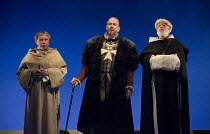 THE JEW OF MALTA   by Christopher Marlowe   design: Lily Arnold   lighting: Oliver Fenwick   director: Justin Audibert l-r: Geoffrey Freshwater (Friar Barnadine), Steven Pacey (Ferneze), Matthew Kelly...