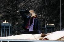 ROMEO AND JULIET   by Shakespeare   design: Alison Chitty   lighting: Jean Kalman   director: David Leveaux Romeo swallows potion beside 'dead' Juliet: Michael Maloney (Romeo), Claire Holman (Juliet)...